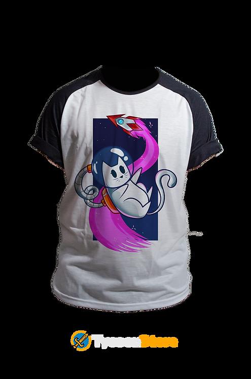 Camiseta Manga Preta - Gato Astronauta