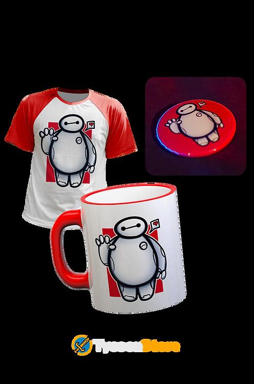 KIT - Baymax / Camiseta + Caneca + Botton