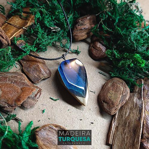 Colar - Resina e Madeira Azul #77