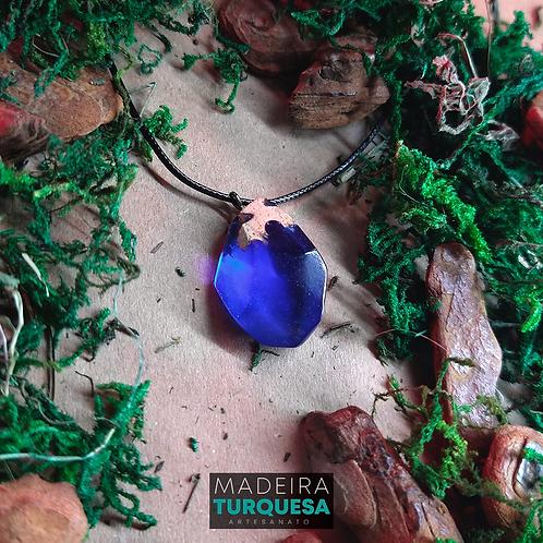 Colar - Resina e Madeira Azul #78