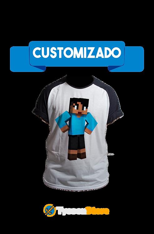 Camiseta Manga Preta - Sua Skin de Minecraft 3D Personalizado