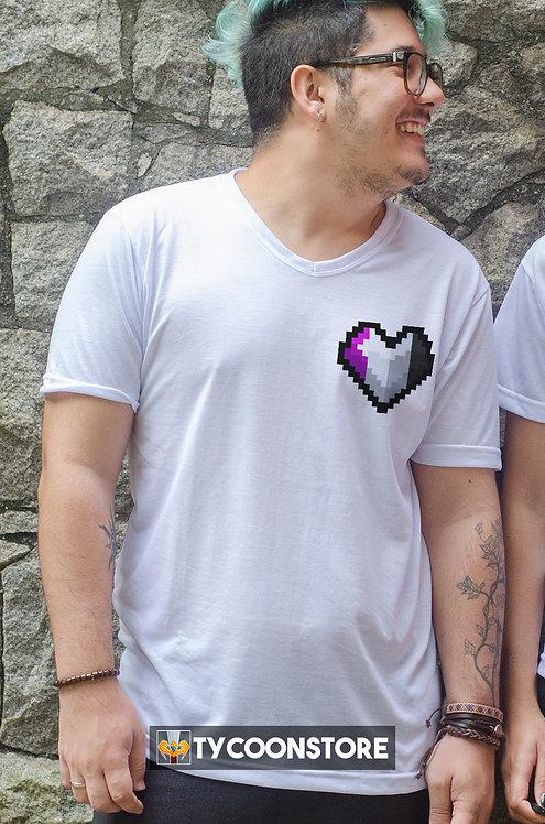 Camiseta - Assexual (LGBT Pixel Art Coração)
