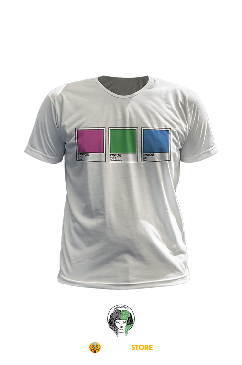 Camiseta Branca - Bandeira Polisexual Pantone