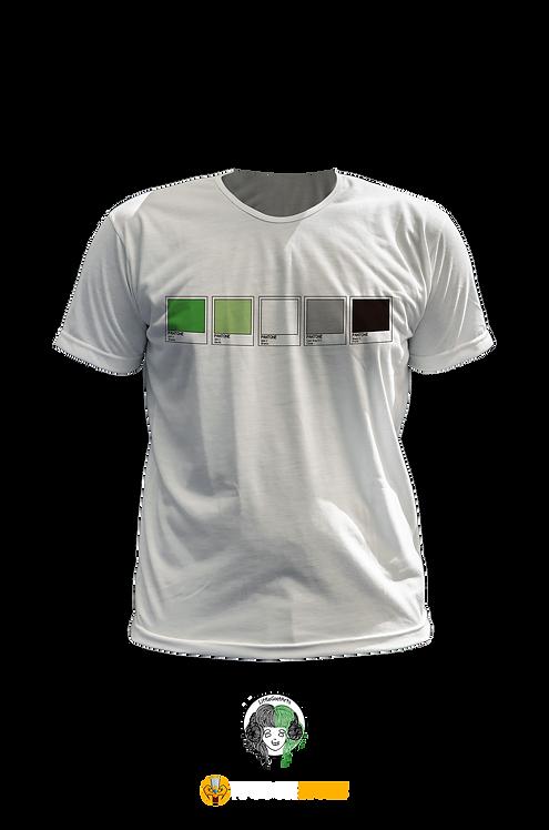 Camiseta Branca - Bandeira Arosexual Pantone