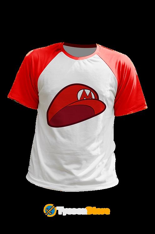 Camiseta Manga Vermelha - Chapéu Mario Bros (Jogo)