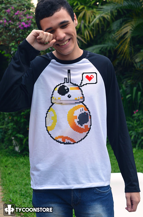 Camiseta Manga Comprida - Droid Love Pixel Art