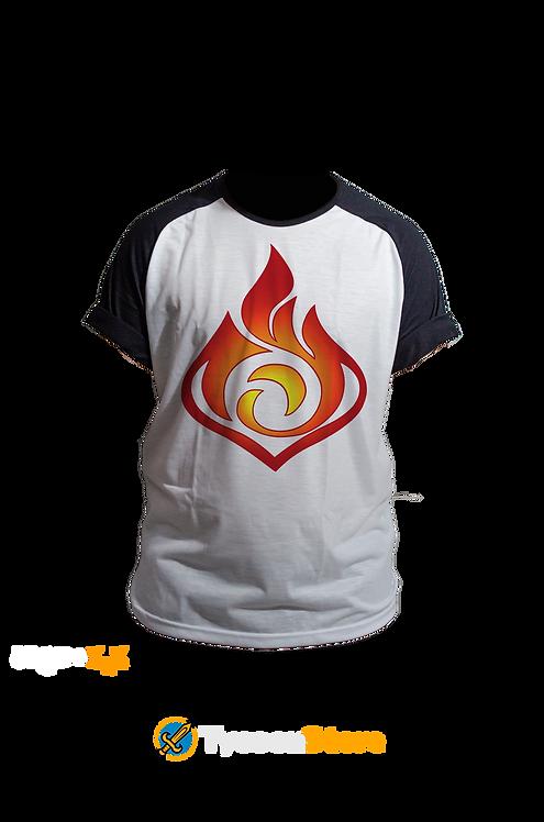 Camiseta Manga Preta - Pyro (Genshin Impact)