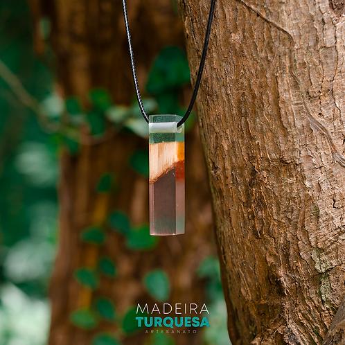 Colar - Madeira com Rosa e Azul #35