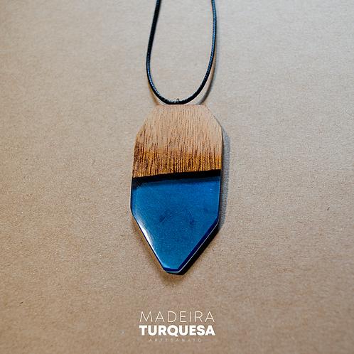 Colar - Resina e Madeira Azul #93
