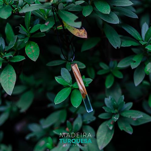 Colar - Turquesa com Madeira #66
