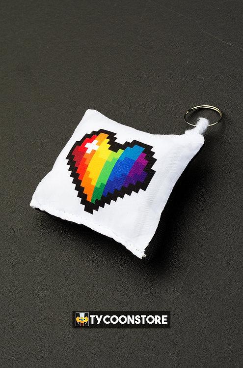 Chaveiro Almofadinha - Coração Pixel LGBT
