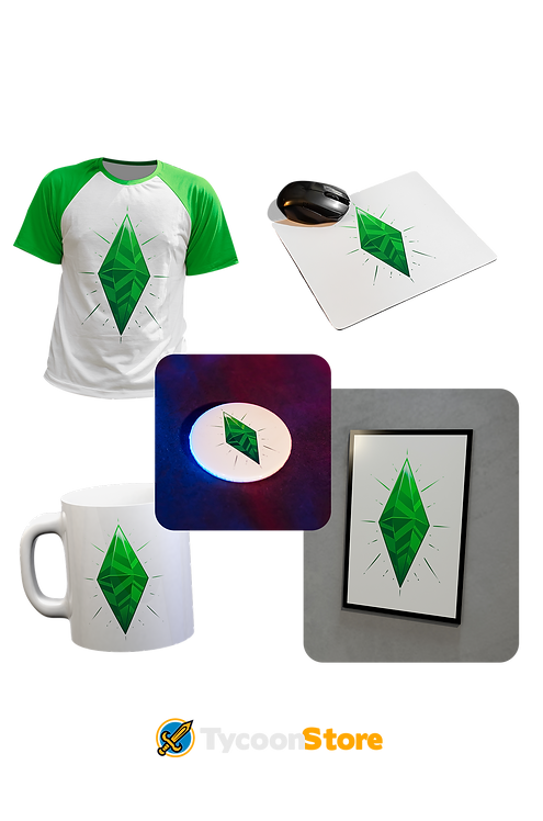 KIT - The Sims / Camiseta + Caneca + Botton + Mousepad +Placa Decorativa