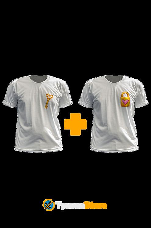 KIT - Camiseta Cadeado Chave Coração