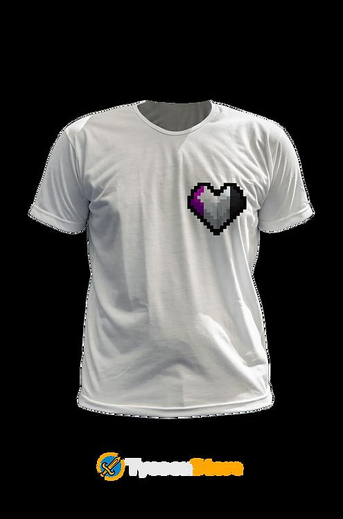 Camiseta Branca - Assexual (LGBT Pixel Art Coração)