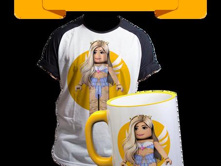 produtos personalizados com sua skin de roblox! camiseta e caneca