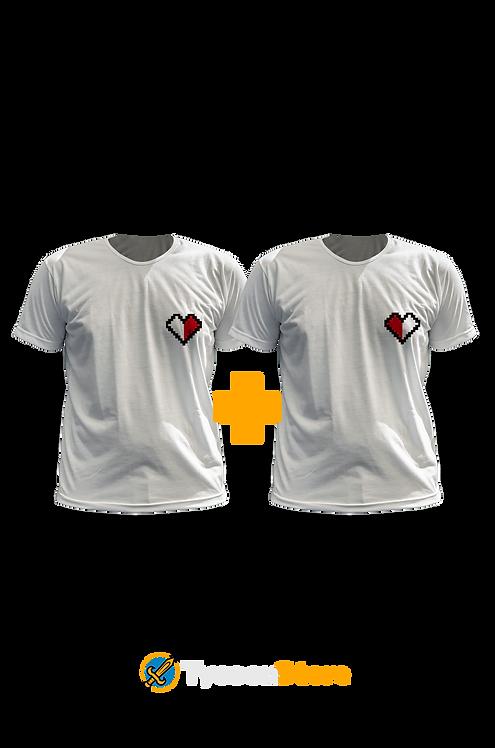 KIT - Camisetas Coração Pixel Art