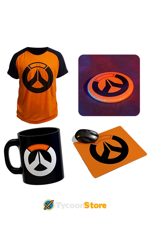 KIT - Overwatch / Camiseta + Botton + Caneca + Mousepad