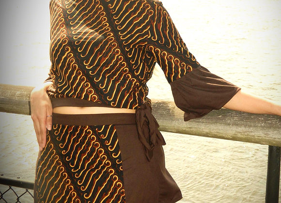 Batik Half-off-Shoulder with Mini Skirt