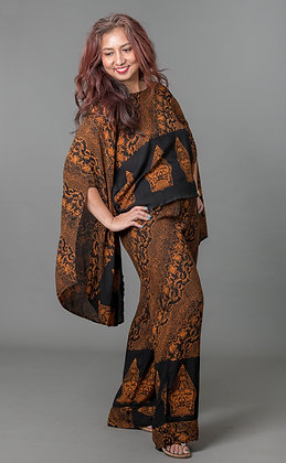 Batik Printed Kimono Blouse and Wide-leg Pant