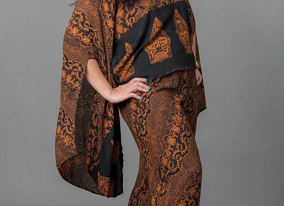 Batik Printed Kimono Blouse and Wide-leg Pant