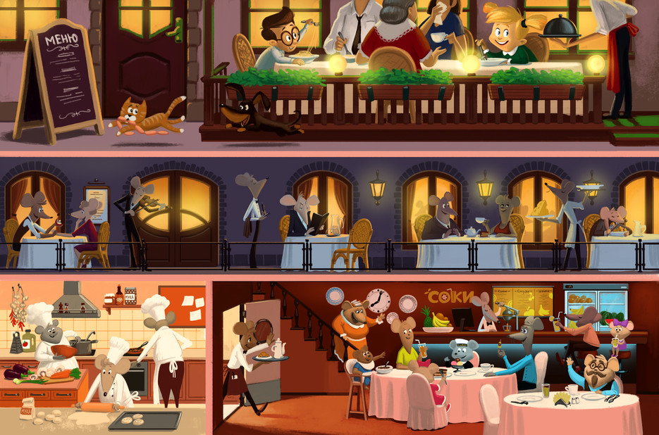 Mice's Life Story. The Restaurant