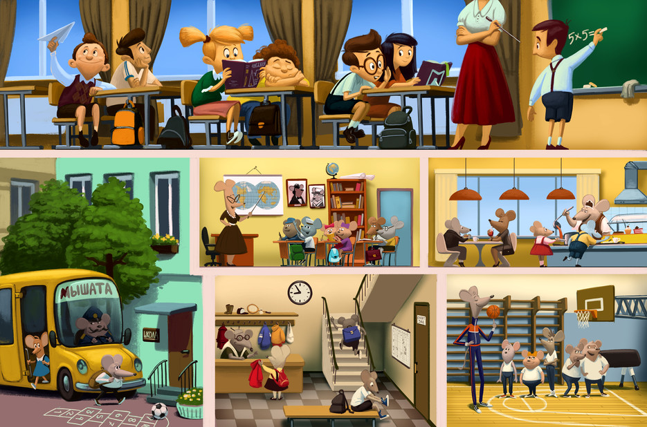 Mice's Life Story. The School