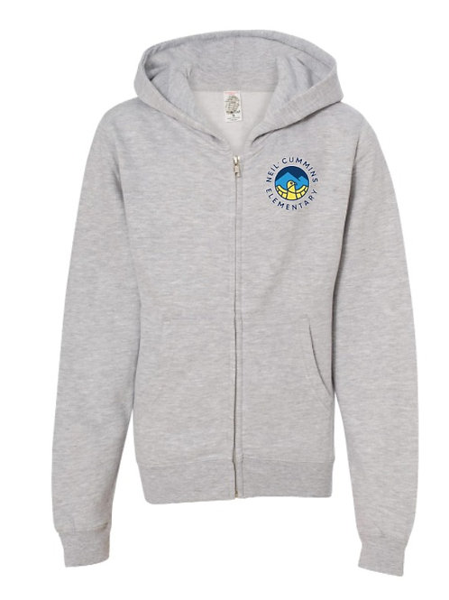 Youth Gray Hooded Zip Up