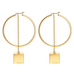 Feminist Earrings paired with Hoops