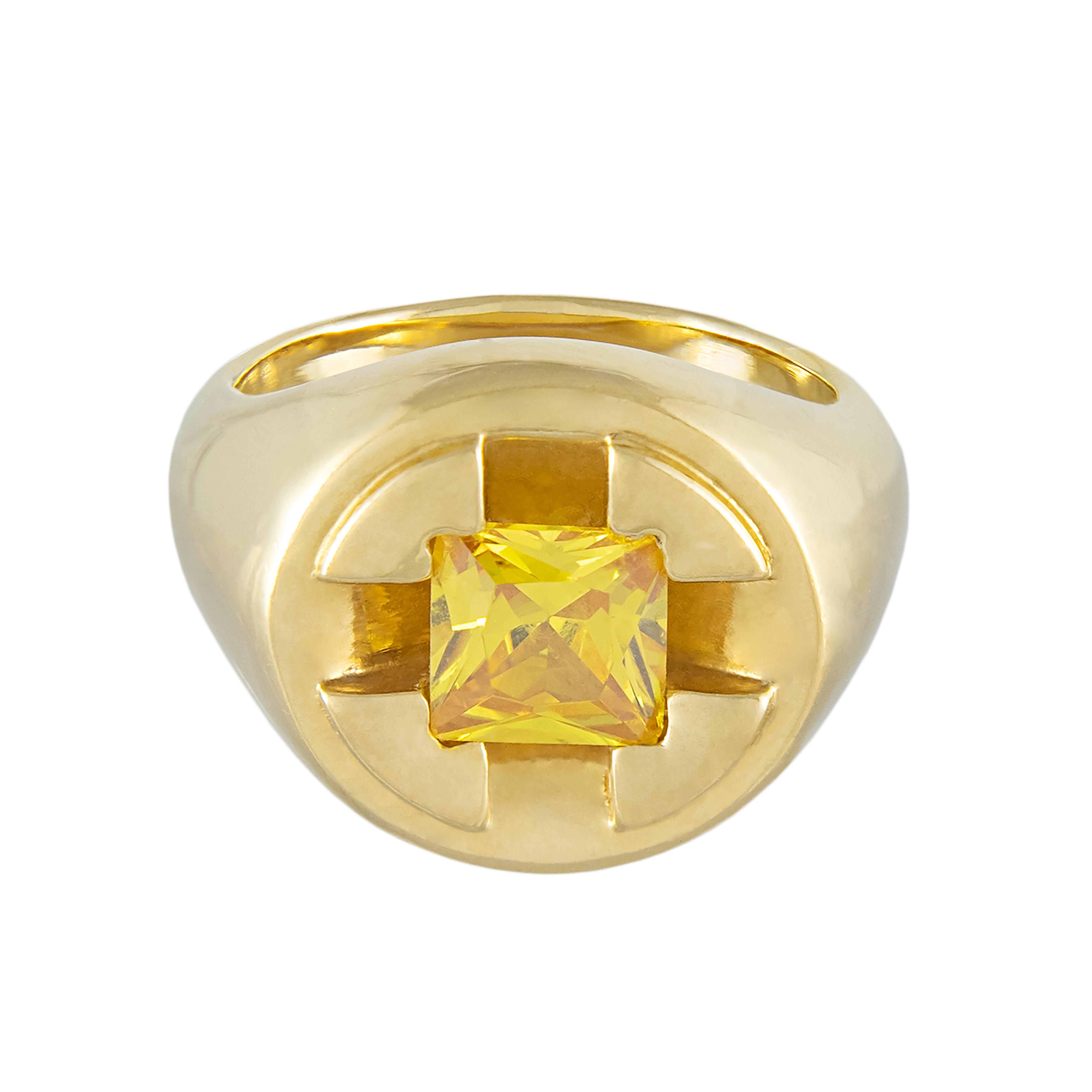 Screw It Signet Ring, yellow citrine