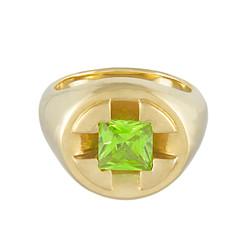 Screw It Signet Ring, green peridot
