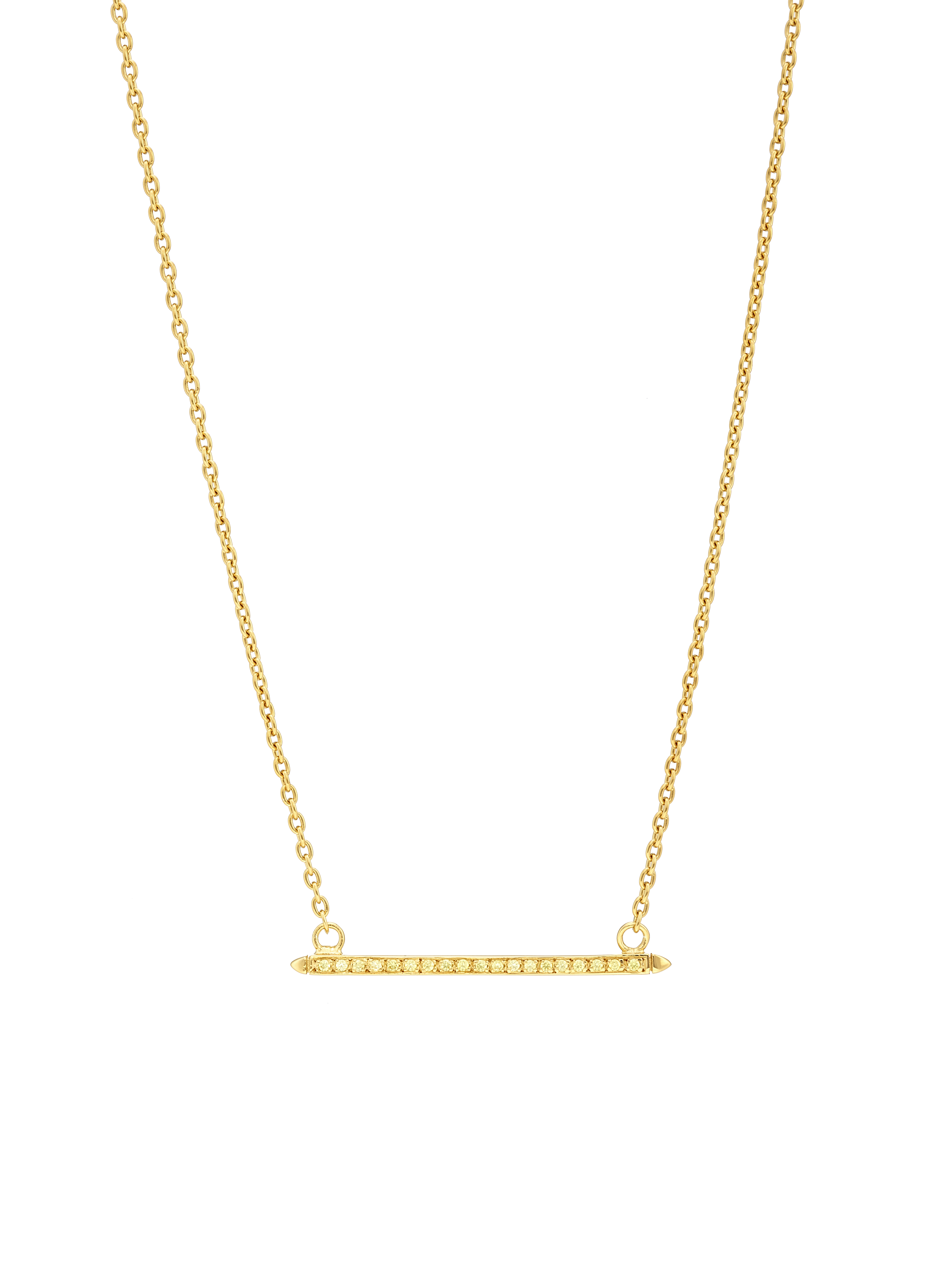 Bar Necklace, yellow CZ