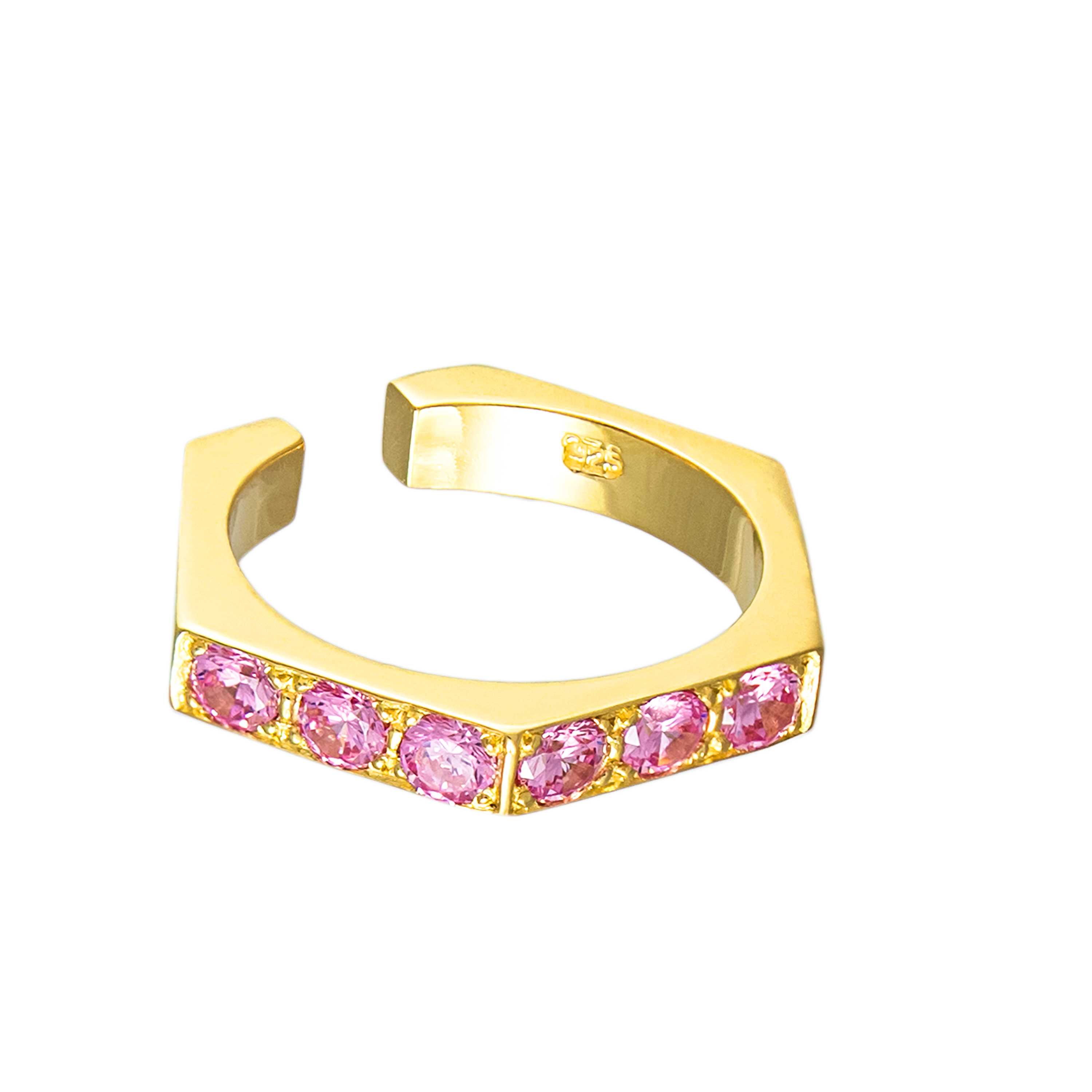 Chunk Ear Cuff with pink Sapphires A