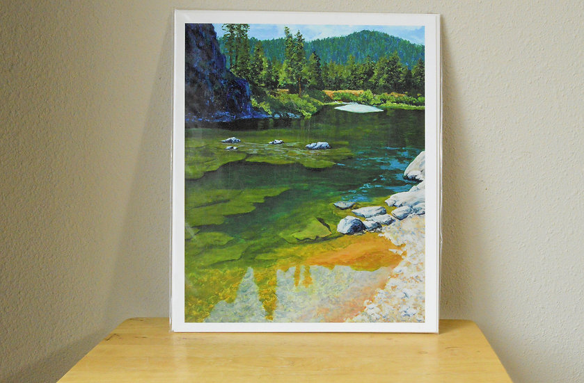 The Blackfoot's Deep Green Pools  -  Giclee Print on Paper