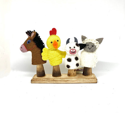 Papoose Farm Animal Finger Puppets 4 Piece