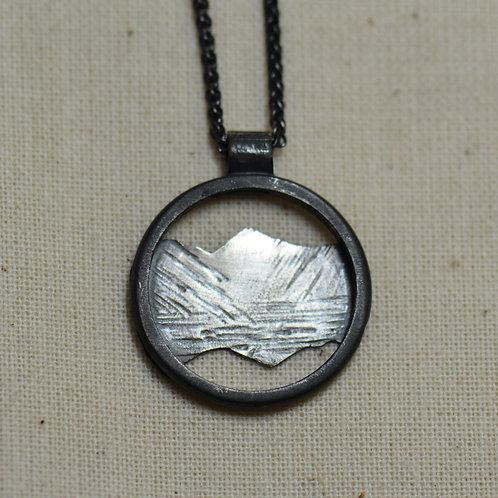 Great Gable Pendant - Oxidised silver