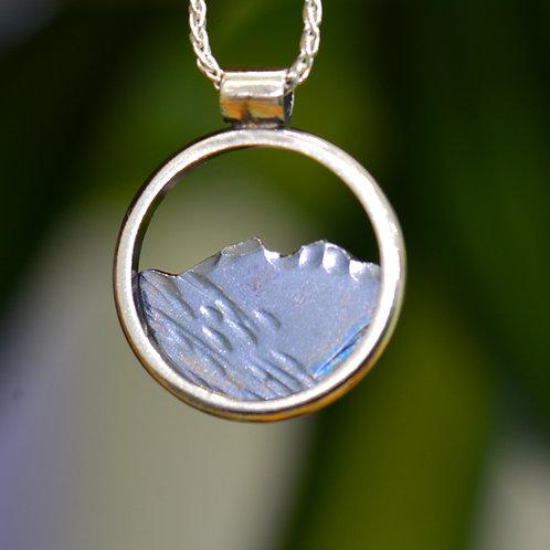 Skiddaw Round Pendant - Oxidised silver