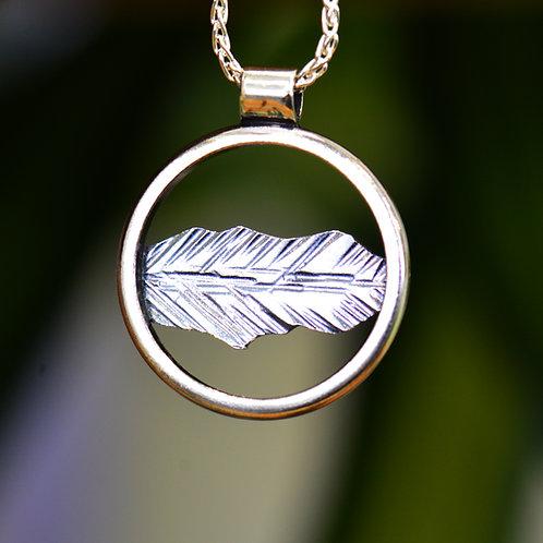 Catbells Round Pendant - Oxidised silver