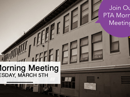 PTA Monthly Meeting: March 5th