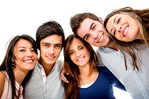 Happy group of young people smiling - is