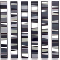 Calendar # B/W Enamel acrylic spraypaint on birch plywood; bronze bar; fabricated steel frames 110cm(h) x 235cm(w)    2019