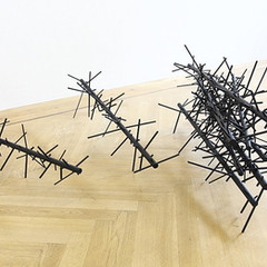 Crosswire #Stack (2G#1) Emulsion and glaze on wood; steel / 100cm(l) x 75cm(h) 2010 (photo credit: Peter Braunholz)