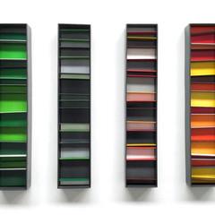 Untitled (Green - Red) Enamel acrylic spray on birch ply; aluminium bar; steel frames 50cm(h) x 70cm(w) x 5cm(d) 2019