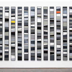 Calendar (B/W)   Enamel acrylic spraypint on birch ply; steel frames 235cm(w) x 165cm(h) x 2.5cm(d) 2020