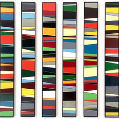 Calendar (colour) Enamel acrylic spraypaint on birch plywood; bronze bar inlay; fabricated steel frames 110cm(h) x 235cm(w) x 2.5cm(d) 2016
