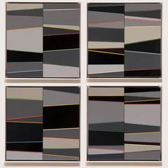 Untitled # Greys (1-4) Enamel acrylic spraypaint on ply; bronze bar inlay; fabricated steel frames 55cm(h) x 55cm(w) x 2.5cm(d) 2015