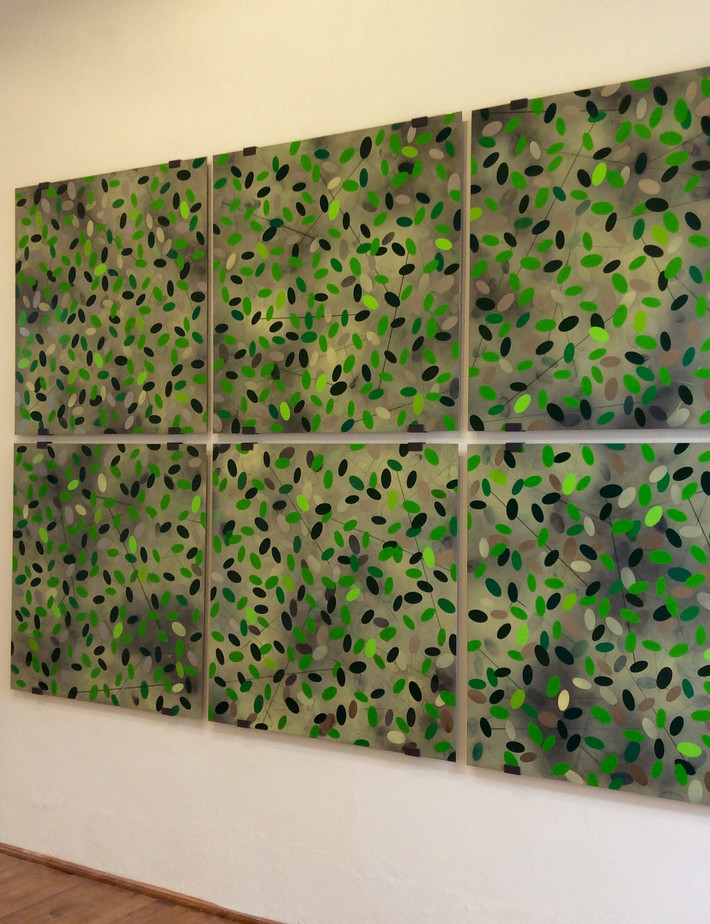 LandScape Paintings #1-6 Mixed media and vinyl on stainless steel; steel frmaes 2m(h) x 3m(w)  2017