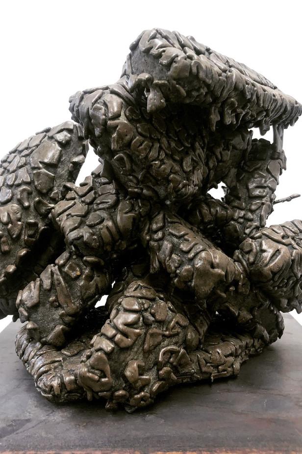 'Untitled (Geo-Therm)' Mixed media on glazed ceramic 30cm(h) x 25cm(w) x 25cm(d) 2020