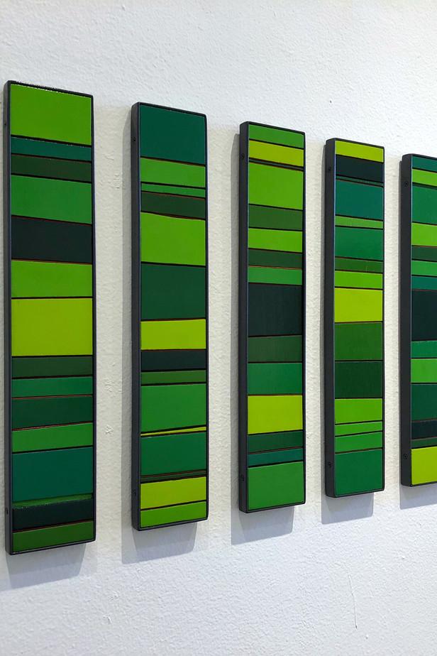 Earth Elements Enamel acrylic spray on birch plywood; steel frames 50cm(h) x 130cm(w) x 2.5cm(d) 2015-2020