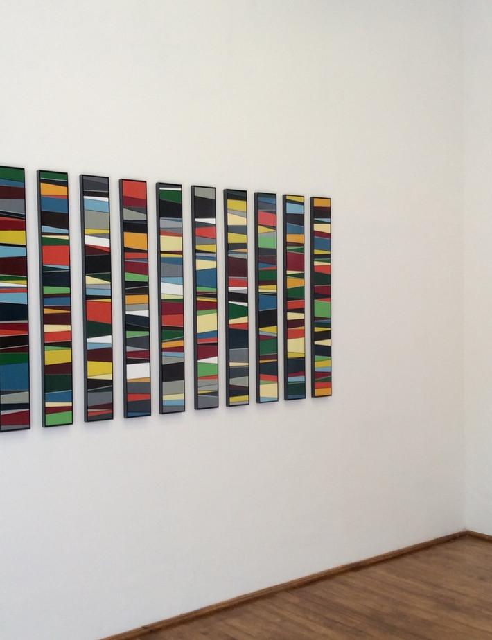 Frequency Variations (installation detail)  Calendar  Enamel acrylic spray on birch plywood; steel frames  235cm(w) x 110cm(h) x 2.5cm 2016