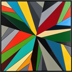 Refractor Painting # a.u.D.i.o Enamel acrylic spraypaint on Birch ply; fabricated steel frame   50cm(h) x 50cm(w) x 2.5cm(d)  2016